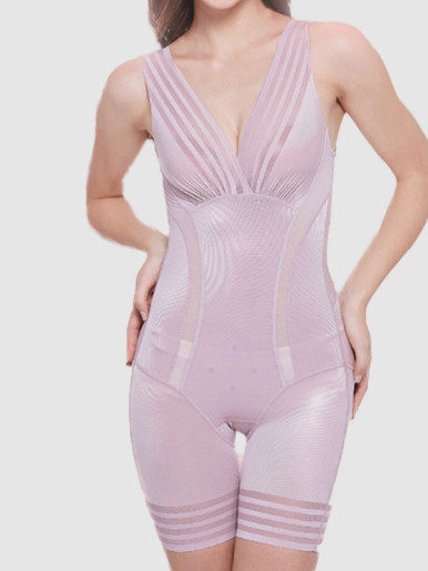 OneBling Striped Contrast Open Crotch Smooth Body Shapewear