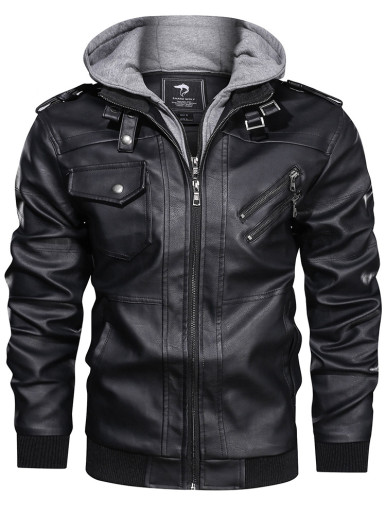 Plus Size Faux Leather Men Racer Jacket with Contrast Hood