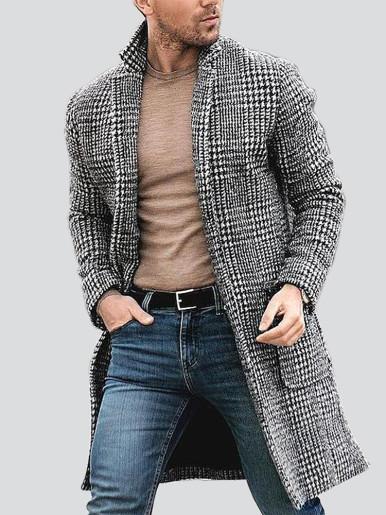 Winter Men Patch Pocket Houndstooth Overcoat