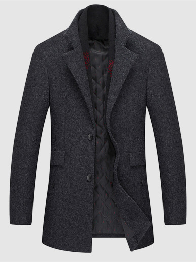 Men Trench Coat with Detachable Scarf