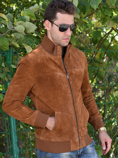 Funnel Neck Suede Men Jacket