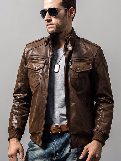 Men's Genuine Leather Racer Jacket