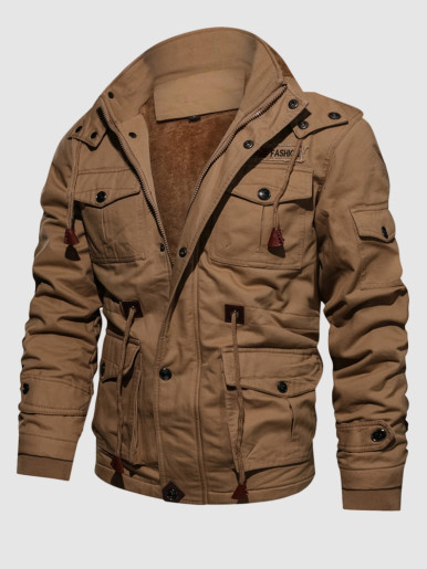 Fur Lining Cargo Military Jacket Men Windbreaker