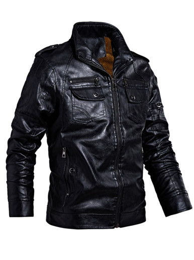 Warm Faux Leather Men Biker Jacket