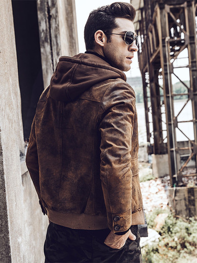 Men's Suede Biker Jacket with Detachable Hood