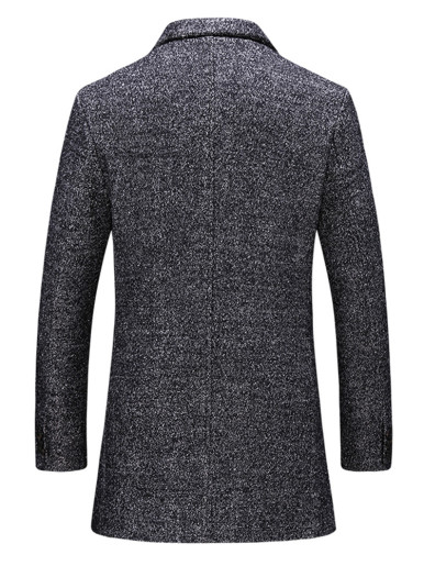 Men Smart Wool Blend Coat In Dark Grey