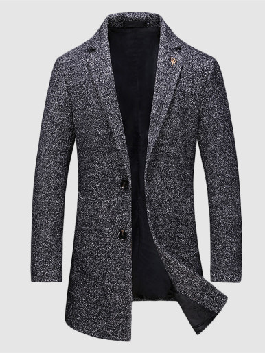 Men Smart Wool Blend Coat In Dark Grey