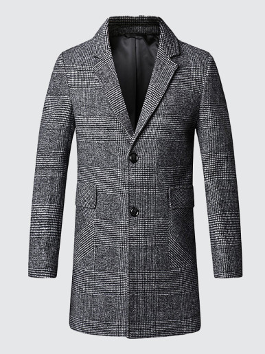 Wool Blend Men Check Coat