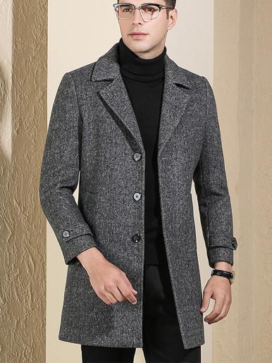 Men Filling Cotton Warm Tweed Windbreaker