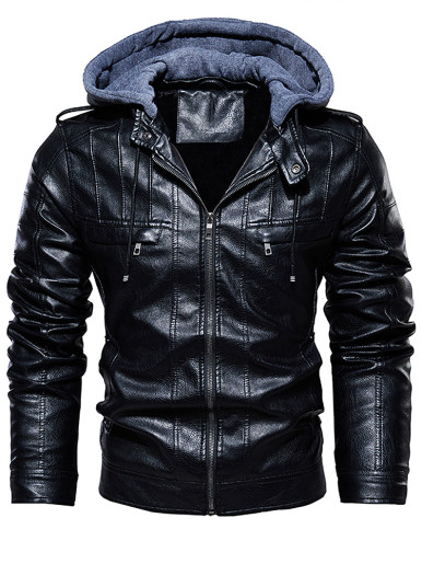 Men Faux Leather Hooded Zipper Jacket