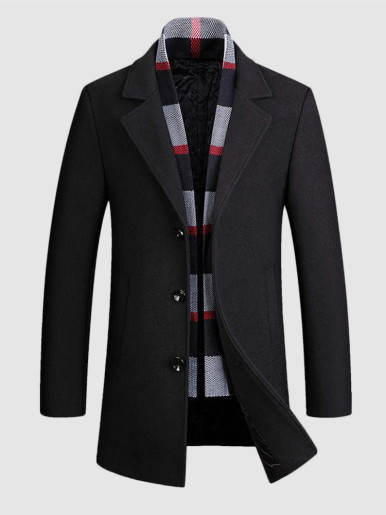Warm Men Wool Blend Overcoat with Detachable Scarf