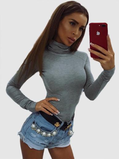 OneBling High Neck Raglan Sleeve Skinny Bodysuit