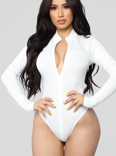 OneBling Zipper Front Long Sleeve Skinny Bodysuit