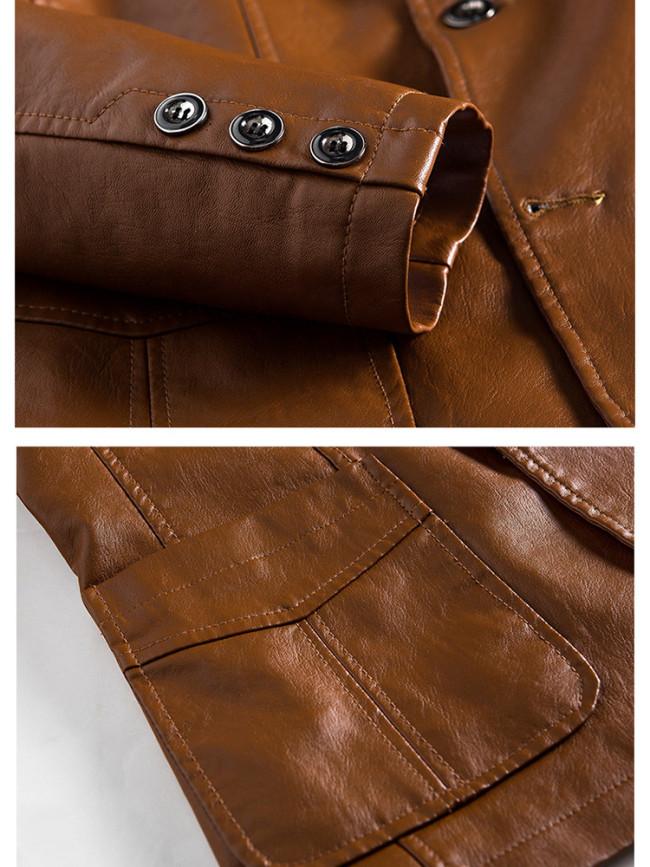 Trendy Slim Handsome Suit Leather Jacket for Men