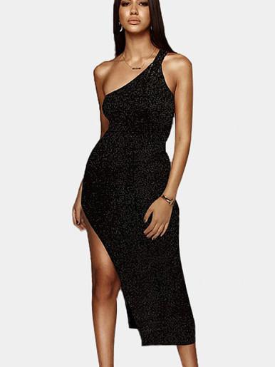 One Shoulder Midi Glitter Dress with Side Split