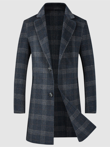 Longline Double-Sided Wool Check Overcoat For Men