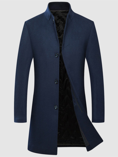 Stand Collar Thick Wool Jacket For Men