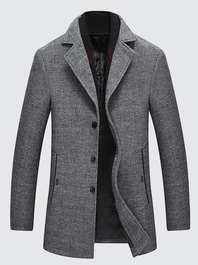 Thick Warm Detachable Scarf Men Wool Coat