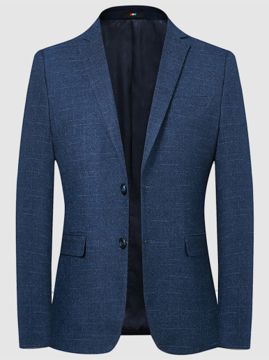 Slim Mens Texture Blazer In Navy