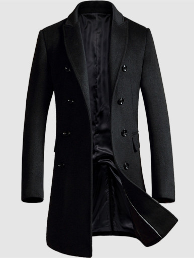 Double Breasted Mens Wool Trench Coat