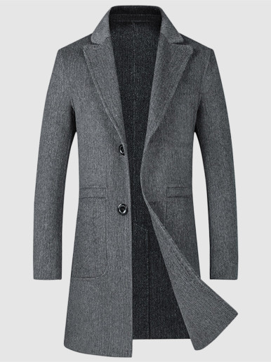 Button Front Mid Length Wool Mix Men Jacket