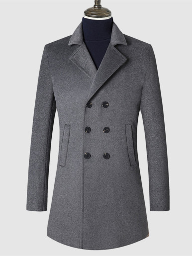 Double Breasted Slim Fit Men's Wool Overcoat