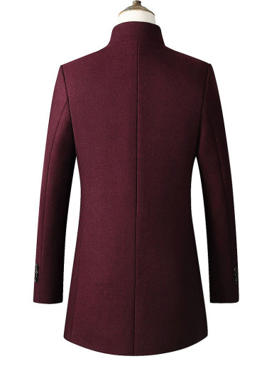 Funnel Neck Single Breasted Men Slim Coat