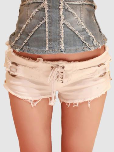 OneBling Sexy Women Denim Shorts Summer Lace-up Zipper Low Waist Shorts