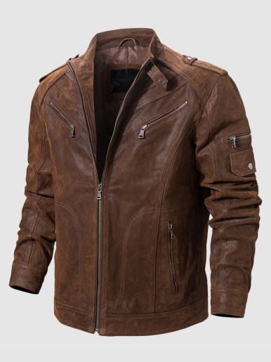Genuine Leather Men Jacket with Stitching Detail
