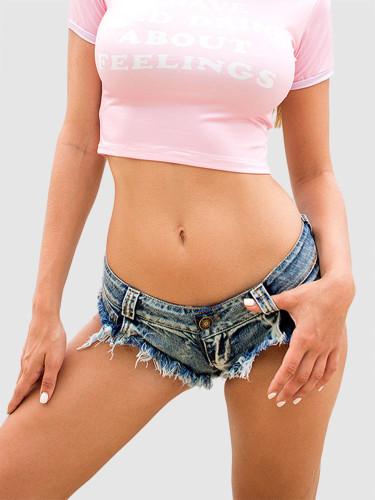 OneBling Sexy Cut Off Low Waist Women Denim Jeans Shorts Thong Mini Hot Pants