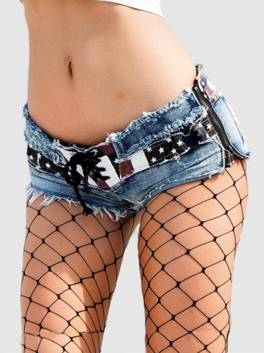Panelled Denim Shorts with Zipper Side and Tie Detail