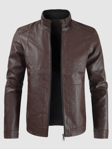 Men Faux Leather Slim Casual Jackets