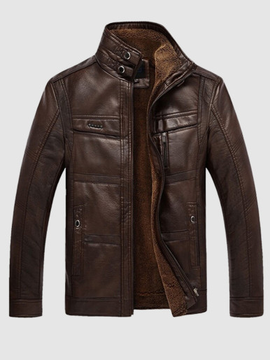 Men Faux Leather Jacket with Fleece Lining