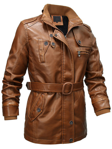 Men's PU Leather Jacket with Belt