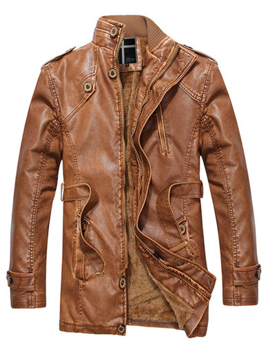 Men's Stand Collar PU Leather Jacket with Belt
