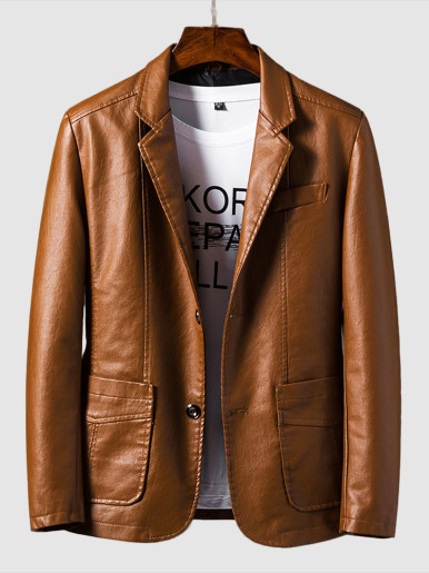 Men's Trendy Slim Handsome Suit Leather Jacket