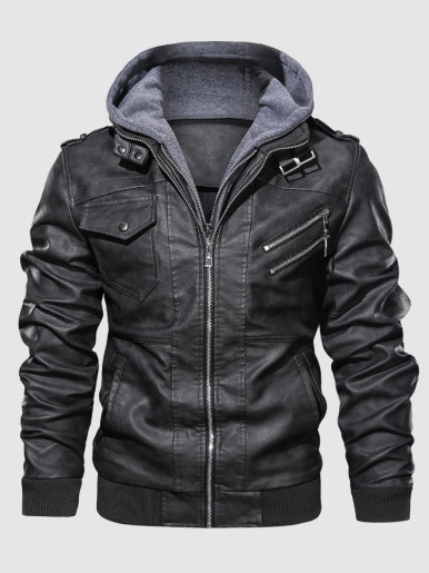 Men Hooded Faux Leather Jackets