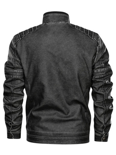 PU Leather Bomber Military Motorcycle Men Jacket