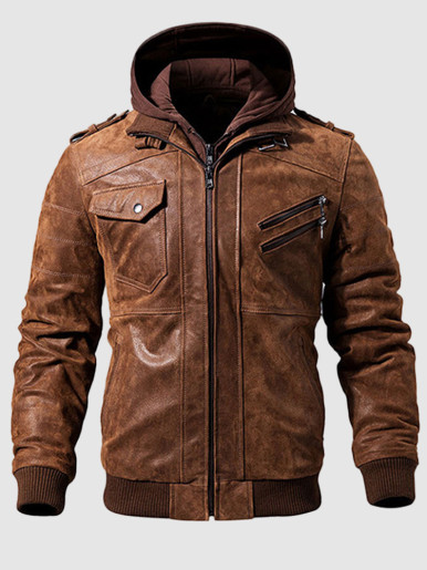Men's Genuine Leather Hooded Biker Jacket