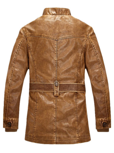 Fleece Lined Faux Leather Suede Men Jackets with Belt