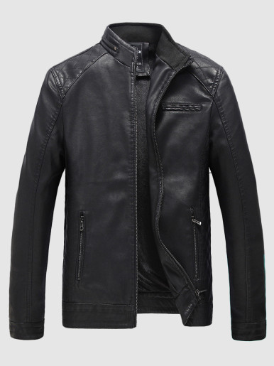Men's Black Leather Bomber Motorcycle Jacket