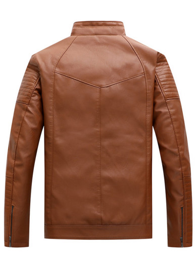 Men Faux Leather Casual Jackets