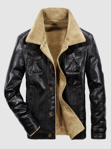 Men's Leather Jacket with Fur Lining and Turn-down Collar