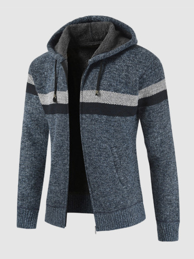 Hooded Striped Men's Sweater with Fur Lining