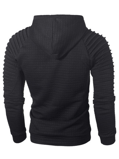 Grid Men's Hoodies with Ruched Long Sleeve