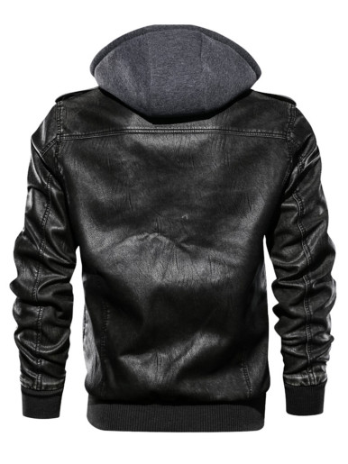 Men's PU Leather Jackets with Detachable Hat