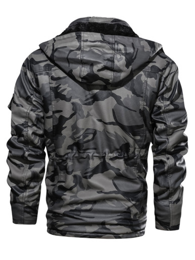 Men's Camouflage Leather Jackets with Fleece Lining