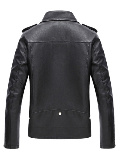 Men's Black PU Leather Motorcycle Jacket