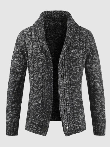 Twist Knitted Men Sweater Buttons Cardigan