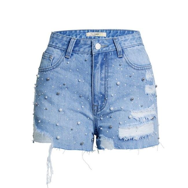 Beaded Ripped Denim Shorts for Women